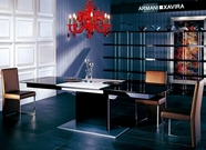VIG Furniture VGUNAA818-265BW-0099-2 Armani Black-High-Gloss-Dining-Table-with-White-Extension-Gold-Chair Dining Set