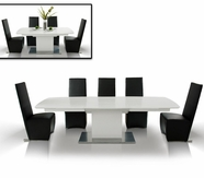 Vig Vgunaa818-265Wc-0020-1 Armani Crocodile-Dining-Table-Full-Leather-Black-Chair Dining Set