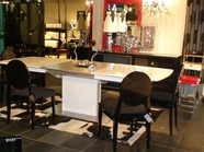Vig Vgunaa818-265Wg-030 Armani White-High-Gloss-Dining-Table-Transitional-Black-Laquer-Fabric-Side-Chair Dining Set