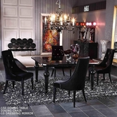 VIG Furniture VGUNAA823-150-031 Armani-Square-High-Gloss-Table-Black-Velour-Dining-Chair Dining Set