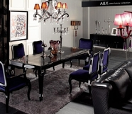 VIG Furniture VGUNAC804-255-017 Armani Xavira Transitional-Lacquer-Table-Purple-Velvet-Side-Chair Dining Set