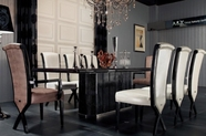 VIG Furniture VGUNAC832-240-013 Luxury-Ebony-Veneer-and-Black-Crocodile-Dining-Table-X-leg-Dining-Side-Chair Dining Set