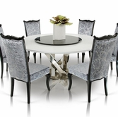 VIG Furniture VGUNAC833-180-014 Round-White-Table-with-Lazy-Susan-Silver-Velvet-Side-Chair Dining Set