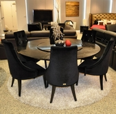 VIG-Furniture VGUNAC833-180-AA031 Round Black-Crocodile-Lacquer-Table-w-Lazy-Susan-Black-Velour-Chair Dining Set
