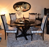 Vig Vgunac836-150-014 Arman Xavira Round-Crocodile-Lacquer-Table-Silver-Velvet-Side-Chair Dining Set