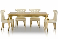 VIG Furniture VGUNAC841-180-043 Golden-Table-Armani-White-Leather-Chair Dining Set