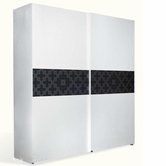VIG Furniture VGUNAW101-226 White and Black Crocodile Texture Sliding Wardrobe