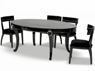 Vig Vgunrc831-202-Blk-Aa032 Luxurious Crocodile Transitional Dining Table Armani Black Dining Chair Dining Set