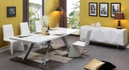 VIG Furniture VGVCT1108-24-WHT-B878-WHT  White-Modern-Dining-Table-Leatherette-Dining-Chair Dining Set