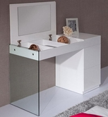 VIG Furniture VGWCC606-VAN Volare - Modern White Floating Glass Vanity w Storage
