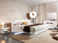 VIG-Furniture VGWCSG-B01-WHT-GACG05D-GACG05M Volterra Contemporary-Floating-Bed-With-Light-Dresser-Mirror Bedroom Set
