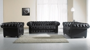 Vig Vgyia34 Paris-2 Black Tufted Leather Sofa Set