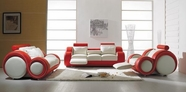 Vig Vgyit27 T 27-Contemporary White And Red Leather Sofa Set
