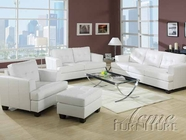 White Bonded Leather Living Room Furniture Set - Acme 15095-96