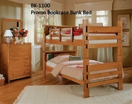 Woodcrest BK1100 Bookcase Bunk Bed,Dbl Guard Rails, no ladder included
