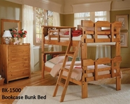 Woodcrest BK1500 Bookcase Bunk Bed with Special Ftbd.,Ladder,Dbl Guard Rails