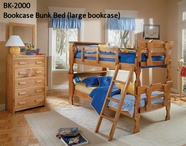 Woodcrest BK2000 Bookcase Bunk Bed(Lg Headboard)Ladder,Dbl Guard Rails