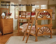 Woodcrest BW1000 Wagon Wheel Bookcase Bunk Bed w/Ladder,Dbl Guard Rails