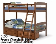 Woodcrest Chocolate Promotional Bunk Bed 5100