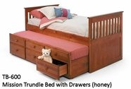 Woodcrest TB600 Mission Trundle Bed with Drawers