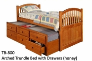 Woodcrest TB800 Arched Trundle Bed with Drawers