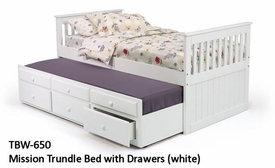 Woodcrest TBW650 White Mission Trundle Bed with Drawers