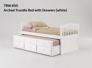 Woodcrest TBW850 White Arched Trundle Bed with Drawers