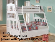Woodcrest TF3150 Twin/Full Mission Bunk Bed with slat pack