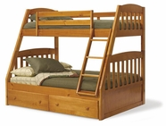 Woodcrest TF4130 A-Frame Twin/Full Bunk Bed with Slat Pack