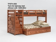 Woodcrest TFSTH500 Twin/Full Stairway Bunk Bed with Side Drawers