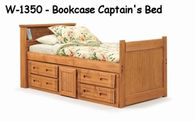 Woodcrest W1350 Woody Creek Bookcase Captains Bed-Twin