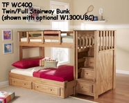 Woodcrest WC400 Woody Creek Stairway Bed with Front Loading Drawers