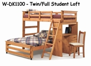 Woodcrest WDK1100 Woody Creek Twin/Full Student Loft with Desk Tower
