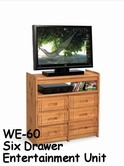 Woodcrest WE60 Woody Creek 6 Drawer Entertainment Unit