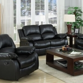 Yuan Tai 1075L-BLK Kaden Black Bonded Leather Loveseat