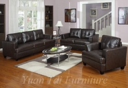 Yuan Tai 1080CH-SET(3) SET - Caleb Chocolate Sofa 3 Pcs