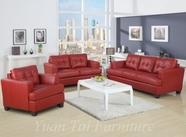 Yuan Tai 1083RED-SET(3) SET - Caleb Red Sofa 3 Pcs