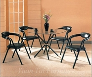 Yuan Tai 6527B(6355B)-4 SET - Black Cross Leg Table 5 Pcs