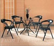 Yuan Tai 6527BK/6355BK-4 SET - Black Cross Leg Table 5 Pc
