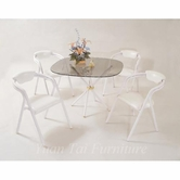 Yuan Tai 6527W(6355W)-4 SET - White Cross Leg Table 5 Pcs