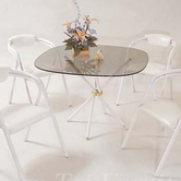 Yuan Tai 6527W/Glass White Cross Table w/ Glass