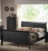 Yuan Tai 6702Q-BK Louis Phillipe Black Queen Bed