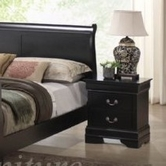 Yuan Tai 6703N-BK Louis Phillipe Black Nightstand