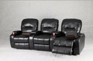 Yuan Tai 6880-BK SET - Copa Black Theater 3-Seaters