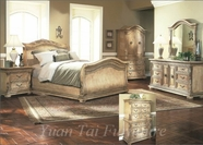 Yuan Tai 7501K Florence Whitewash King Bed