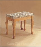 Yuan Tai 8007L Large Vanity Stool, Oak