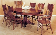 Yuan Tai 8123T(AS)-6 SET - Oak Sunburst Table 7 Pc