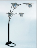 Yuan Tai 9074BK Black 4-Tulip Floor Lamp