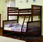 Yuan Tai 9081-WT Walnut Twin/Full Bunkbed