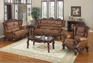 Yuan Tai - Empire EM3621S-EM3621L Lite Brown Leather Living Room Set